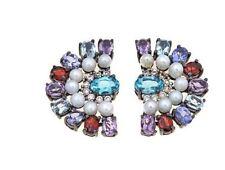 RARITIES: Apatite, Cultured Freshwater Pearl & Multigemstone Sterling S Earrings