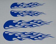 CUSTOM  FLAME VINYL DECALS BIKE HELMET STICKERS BLUE  SET OF 2 NEW #32
