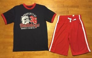 NWT The Children's Place 2 Piece Boy's Blue Bulldog Shirt & Red Shorts Outfit