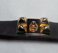 "1"" wide Black Leather Bracelet with Gold plated studs and ring."