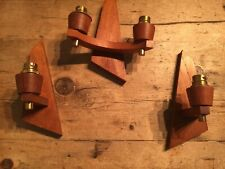 PRELOVED QUALITY TEAK WALL LIGHTS X 3 PIECES