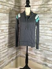 Maurices Lightweight Sweatshirt Mock Neck Gray Aqua Womens Size S Small