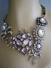BETSEY JOHNSON ICONIC CUPID'S ARROW HEART & BOW CHARM STATEMENT NECKLACE~RARE