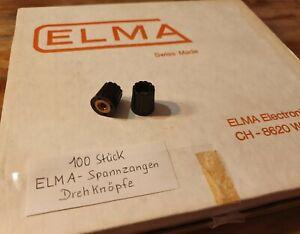 100 x ELMA DREHKNÖPFE / SPANNZANGEN - DREHKNOPF 15 X 16,5 mm 4-6,35 mm ACHSE NOS