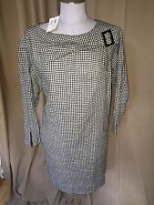 SEE by Chloe NWT black white gingham check plaid Audrey Hepburn shift dress 6