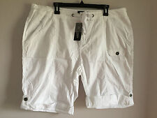 BNWT Womens Sz 20 Crossroads Brand White Pure Cotton Cargo Style Shorts RRP $35