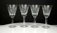 """Antique Set of 4 Victorian Fine Crystal 6"""" wine glasses Beautifully handcrafted"""