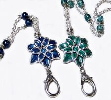 Chain Necklace Lanyard, keys, work id badge, Silver, flower Teal or Navy Blue