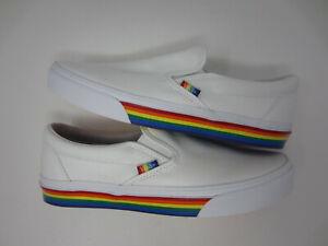 NEW Vans Slip On Rainbow white skate classic shoe pride LGBT LGBTQ men's 10.5 US