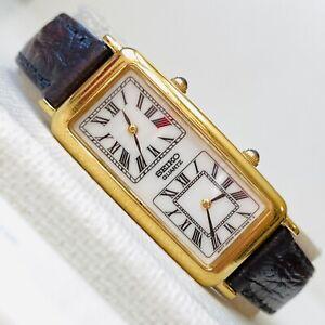 Vintage Seiko Skinny Dual Time Women's Gold Dress Watch Black Leather 1N00-5K69