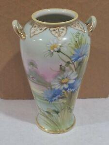 Vintage Porcelain Nippon Vase  Dasiy Flower Hand Painted 8 Inch