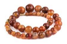 Carnelian Stone Sphere Beads Graduated 21mm Mali African Orange Round Gemstone