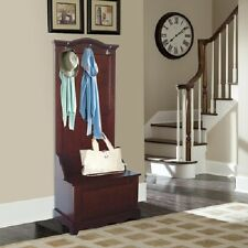Brown Slim Hall Tree Stand Storage Bench Entryway Home Living Furniture Mudroom