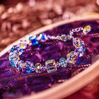 Women Aurora Borealis Bangle Crystal Bracelet Square Chain Wristband Adjustable