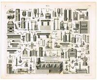 ORIGINAL ANTIQUE PRINT VINTAGE 1851 ENGRAVING CHEMISTRY SCIENCE LAB APPARATUS 2