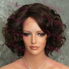 Dark Brown / Auburn Mix Short Curly Heat Safe Lace Front Synthetic Wig ABKE 4/30