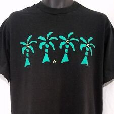Left Coast Palm Trees Mens T Shirt Vtg 80s Black Green Made In USA Size Large