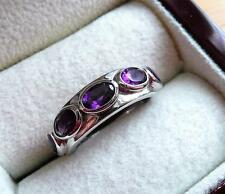 925 STERLING SILVER PURPLE AMETHYST ETERNITY BAND RING SIZE P US 8