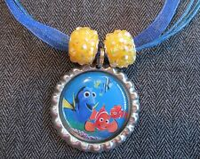 Ribbon Bottle Cap Bling Charm Necklace Beads Finding Dory Fish Nemo Ocean Fish