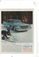 1961 SATURDAY EVENING POST CHRYSLER NEWPORT 4-DOOR SNOW SKIERS AD PRINT E743
