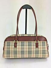 Authentic vintage Burberry nova check stripe brown canvas leather hobo hand bag