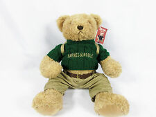 "Barnes & Noble Barnsie Herrington Teddy Bear green sweater tan backpack 19"""