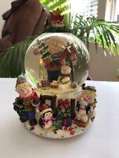 "Snowman Penguin Snow Globe 18 Note Musical  Movement Plays ""O Tannenbaum"""