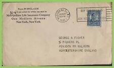 U.S.A. 1935 5c Perfin (Metropolitan Life Insurance Co.) on cover to England
