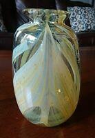 Signed RFAG Studio Art Glass Pulled Feather VASE Rochester Folk Art Guild