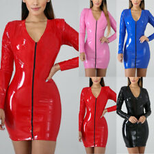 Womens PU Leather Bandage Bodycon Wet Look Clubwear Party Slim Short Mini Dress