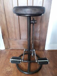 Industrial Art Bicycle Bar Stool with real leather seat.