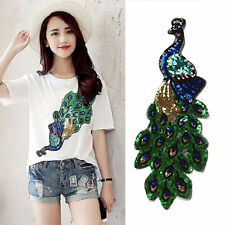 Peacock Pattern Embroidery Patch Sequin Motifs Iron On Patch Clothing Applique