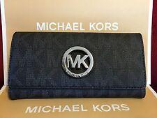 NWT MICHAEL KORS PVC SIGNATURE FULTON FLAP CONTINENTAL WALLET IN BLACK