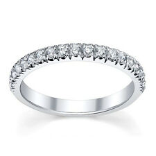 F/VS 0.25Ct Round Diamond Micro Pave Set Half Eternity Ring in 18k white gold