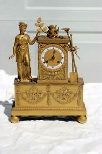 Neoclassical French Ormolu Gilt Bronze Mantel Clock