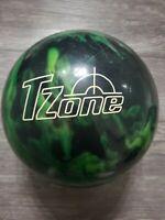 Vtg 13lb Brunswick T Zone Bowling Ball Green Black Marble Swirl b029