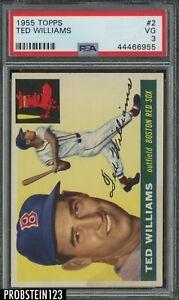 1955 Topps #2 Ted Williams Boston Red Sox HOF PSA 3 VG