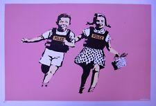 Banksy - screen print serigraph Police Kids (Jack and Jill) Pink AP