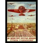 POLITICAL MILITARY PROPAGANDA SOVIET UNION AIRFORCE COMMUNIST POSTER ART 1802PY