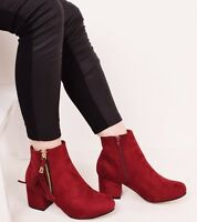 Womens Ankle Boots Mid Block Heel Zip Casual Fashion Platform Chelsea Shoes Size