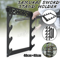 4-Tier Samurai Katana Sword Holder Stand Display Wall Mount Hanger Bracket Rack