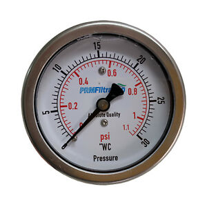 "New PRM 0-30"" WC / 0-1 PSI Pressure Gauge 2.5"" SS Case ¼"" NPT Brass Back"