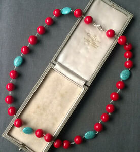 """TURQUOISE CORAL NECKLACE 22"""" 925 SOLID STERLING BIG BEADS"""