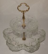 Vintage 2 Tiered Brass Handled Clear Glass Serving Tray with Frosted Flowers