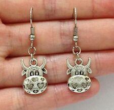 Lady Charm Tibet Silver Cute Cow Head Animals Alloy Dangle Pendant Earrings
