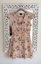 Topshop Pink and Ivory Strawberry Blossom V-Neck Dress, UK Size 10 Immaculate