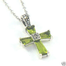Marcasite Sterling Silver Small Petite Baguette Cut Peridot Cross w/ Chain