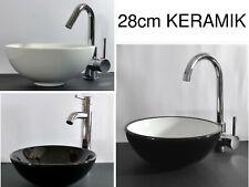 Keramik Aufsatz Waschbecken klein Waschschale 28cm rund Gäste Bad WC Waschtisch