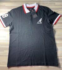 Kangol Original 3-Button Classic Polo Shirt Men's Sz SMALL Black/Red/White NWT