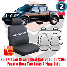 All Black Canvas Seat Cover For NISSAN Navara Dual Cab D40 RX/ST 12/2009-01/2012